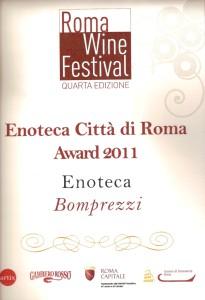 premio 2011 gambero rosso enoteca